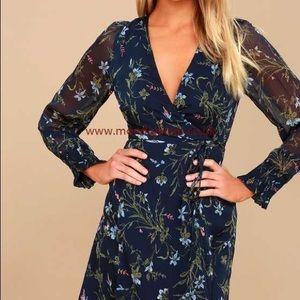 Long Sleeve Wrap Dress Navy Blue